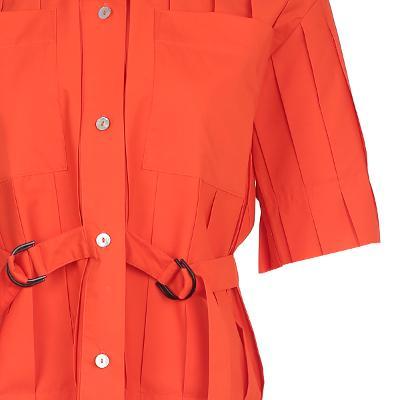 pin-tuck detail shirt orange